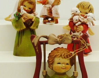 Angels holiday decoration Retro 4 children with wings nun bird swingflowers animal lamb chair book vintage Hong Kong