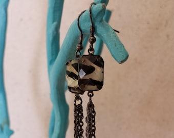 eclectic zebra earrings - bohemian earrings - gunmetal chain earrings - long earrings - statement earrings