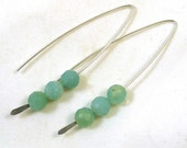 Amazonite V Style Sterling Silver Earrings
