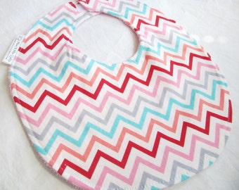 Baby Girl Bib or Toddler Bib - Chevron in Pink, Coral, Aqua, Gray and Red -  cotton bib with terry cloth backing