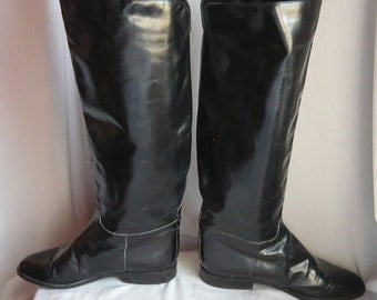 Vintage CHARLES DAVID Riding  Boots size 6 .5 Black Leather Italy  Eur 37 UK 4  Flat Equestrian