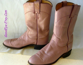 Vintage PEARL PINK Justin Boots size 6 B  Eu 36  UK 3 .5 Leather Ankle Ropers