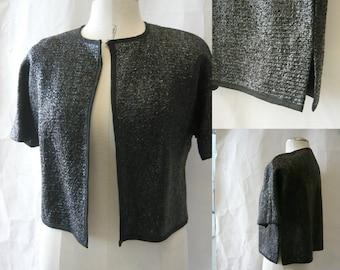 Vintage NM Evening Jacket  60s Woven Sparkle RAFFIA Sweater medium  8 10 12 Black Italy  1960s  Neiman Marcus Short Sleeves