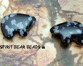 Zuni Bears Snowflake Obsidian for Earrings and Accent 1 pair black gray make your own Dreamcatcher or earrings Teen Size 12 x 18 mm