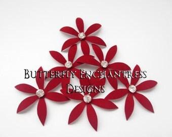 Wedding Hair Accessories, Bridal Head Piece, Bridesmaid Hair Flowers - 6 Red Harlow Spider Orchid Flower Hair Pins