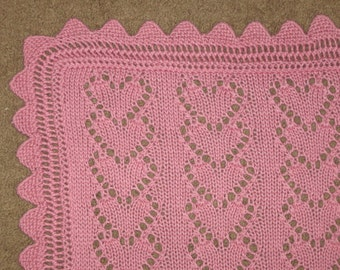 Lace Heart Chains Baby Blanket knitting pattern (pdf digital download)