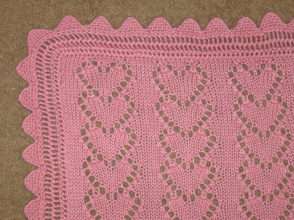 Big Heart Knitting Pattern : Knitting Patterns Baby Blanket With Hearts images