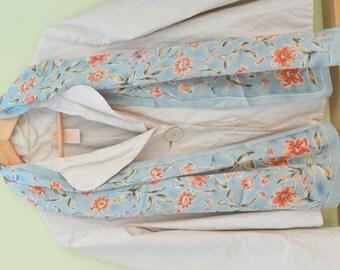 Silk Scarf, TALBOTS, Floral Scarf, Blue Scarf, Spring Scarf, Designer Scarf, Vintage Scarf, Talbots Scarf, Print Scarf, 1980's Scarf, Scarf