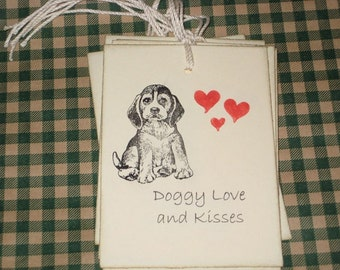 6 Doggy Love and Kisses Gift Tags Favors