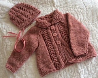 Vintage Style Hand Knitted Baby Outfit - 0 - 3 Months