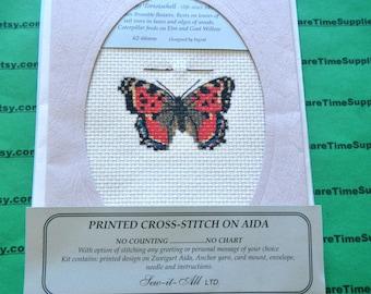 Sew-It-All LTD -  34C Printed Cross-Stitch on Aida Greeting Card large tortoisehell butterfly  1 kit