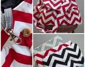 Chevrone Messenger Bag Wristlet Set - 3 pockets - Adjustable strap - key fob - SET