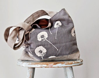 Stormy Blue Linen Tote Dandelion Prints - Hand Printed -  2 Pockets
