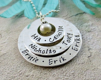 Personalized Necklace - Mothers Necklace - Family Name Necklace - Eternity Circles - Gift For Grandma Necklace - Kids Name Mom Jewelry