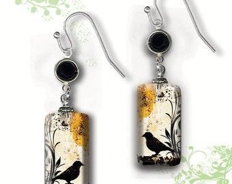 Black Bird Earrings - Two Sided Glass Art Dangle Earrings  - GeoForms Collection by Tzaddishop - Little Black Bird Dangles
