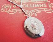 long locket necklace - silver oval