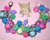 Owl Charm Bracelet Jewelry Buttons Beads OOAK Statement Piece Adult Tween Teen Cute Fun Chunky