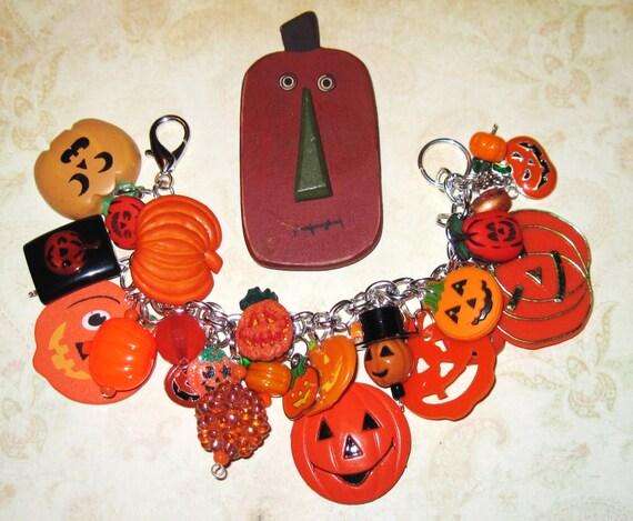 Halloween Charm Bracelet JOL'S  Jack o' Lantern Jewelry Pumpkin Patch OOAK Loaded w/ Eclectic Trinkets Halloween Statement Piece Fun Chunky