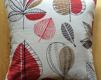 """16"""" x 16"""" cushion cover - red, grey and brown mid-century leaves on light beige"""