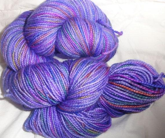 Fairy Sock Rae-Ella's Purple Rainbow hand dyed sock weight yarn 425 yds