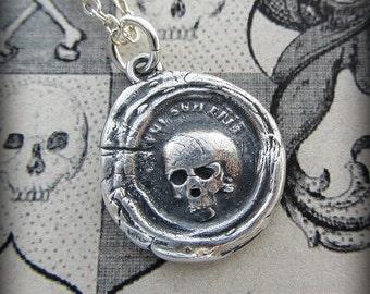 Skull Wax Seal Pendant Necklace - Skull Necklace - Es Fui, Sum Eris - memento mori jewelry - Life is Short Live Well - L1125