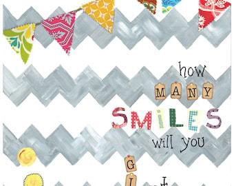 SMILES -  11x14 Wood Mounted Print