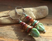 Tribal Stacked Czech glass in turquoise and russet with turquoise stone and gold, plum and brick red ceramic spacer earrings