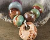 Handmade stoneware ceramic beads & pendant/charm Assorted colors (8)