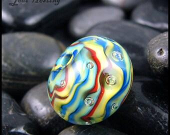 Beadworx - Lampwork Glass Focal Bead - Threads of the Rainbow
