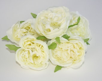 5 Fully Bloomed Vintage Inspired Shabby Chic White Cabbage Roses - ITEM 0295