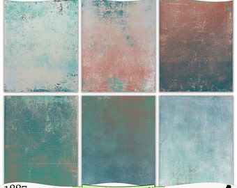 Distressed Sea Green and Coral Painted Digital Printable Papers Instant Download Set of 6 - 8.5 x 11 inch JPEG & PDF Commercial Use 1887