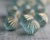 Aqua Gold Picasso Czech Glass Bicone Bead 11mm : 10 pc Aqua Bicone