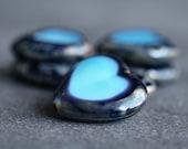 Czech Glass Heart Bead Cobalt Blue Picasso 16mm : 6 pc