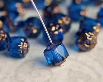Sapphire Blue Bronze Czech Glass Bead 6mm Renaissance : 25 Czech Beads