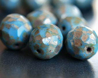 Sky Blue Picasso Czech Glass Bead 12mm Faceted Round : 6 pc