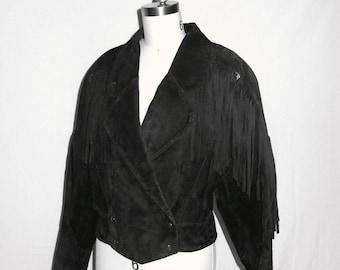 Womens Fringe Jacket / Black Suede Fringe Jacket /Laser Cut Cropped Fringe Jacket Sz M