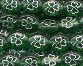 Shamrock Beads Czech Glass Beads St Patrick's Day Green w/Silver Outline Clover
