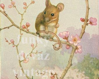 Vintage Spring Mouse Digital Download  Print, Baby Room Decor, Country Cottage Decor