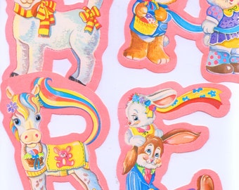 Vintage / Happy Easter / Five Foot Flocked Banner / Hanging Yarn Included / Sweet Easter Graphics / Garland