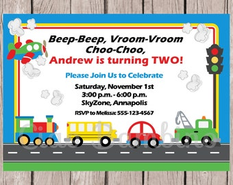 PRINTABLE Transportation Birthday Party Invitation / Cars, Trucks, School Bus, Train Airplane / On The Move Invitation / You Print
