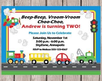 PRINTABLE Transportation Birthday Party Invitation / Cars, Trucks, School Bus, Train Airplane / On The Move Invitation / You Print