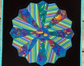 Quilted Dresden Plate Circle Star Flower Table Topper Wall Hanging Turquoise
