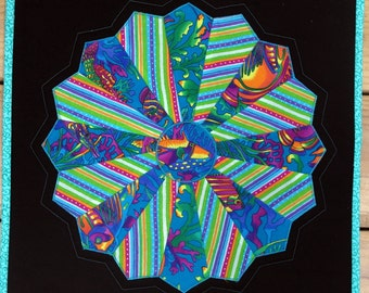 Quilted Dresden Plate Table Topper, Circle Star Flower Wall Hanging, Turquoise, Quiltsy Handmade