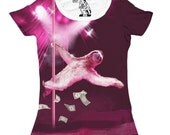 Women's Stripper Sloth Tee, Sloth, Funny Animal Tees, Womens Scoop, Pole, Cool T-Shirt, Gag gift for her, Joke Tshirts, Sizes S M L XL 2XL
