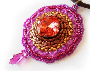 Victorian Pink and Gold Pendant Necklace - Pink Swarovski Rhinestone Necklace - Victorian Necklace - Glass Beads Beadwork Necklace