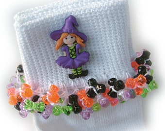 Kathy's Beaded Socks - Cute Witch socks, Halloween socks, button socks, Holiday socks, purple socks, Fall socks
