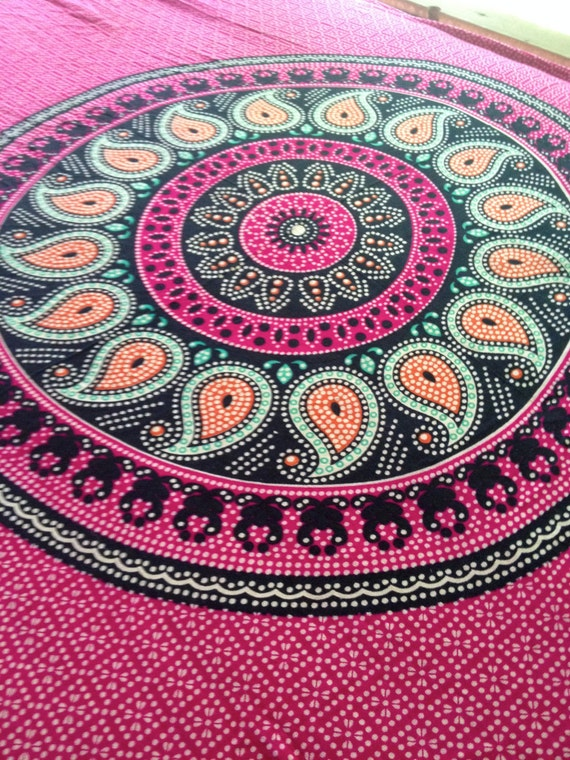 Boho Hippie Tapestry Fabric - Paisley Mandala Pink (Reduced)