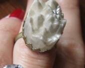 SALE Arctic Castle Ring - brass and quartz drusy