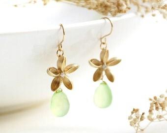 Hawaiian Earrings, gold frangipani flower with lime green chalcedony tear drop, tropical plumeria floral, bridesmaid gift, lightweight