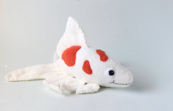 Kawaii fish stuffed animal red and white plush koi fish for Fish stuffed animal